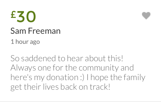 Message left on the fundraising page set up for the Taylors.
