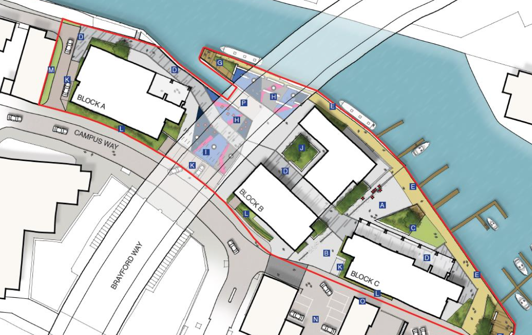 The sites outlined for the new building from above.