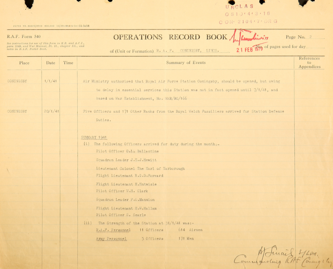 The opening of the station (described as a low-key event) was recorded in the operations records book. (Click to enlarge)