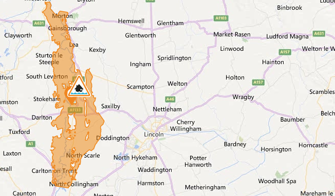 Flood warning issued for areas west of Lincoln. Photo: Environment Agency