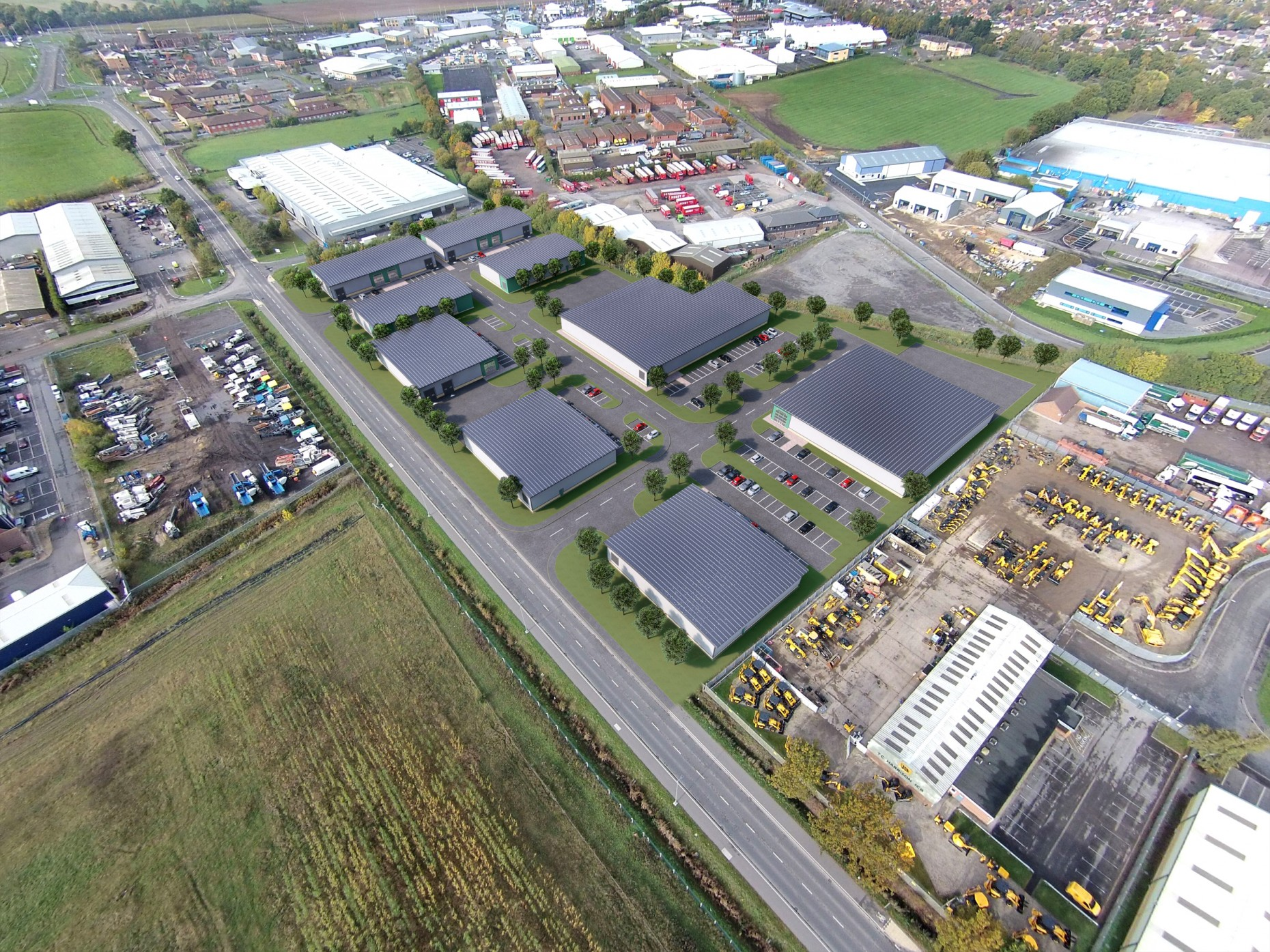 Ariel view of Discovery Park on Whisby Road, Lincoln