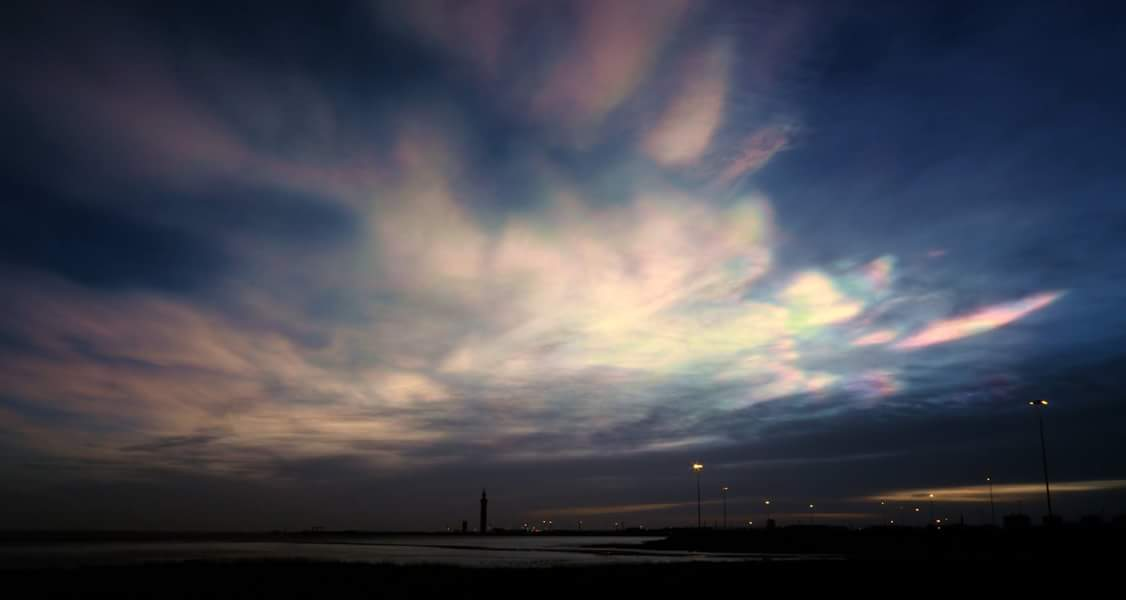 Nacreous clouds over Grimsby dock tower. Photo: Mark Parrott