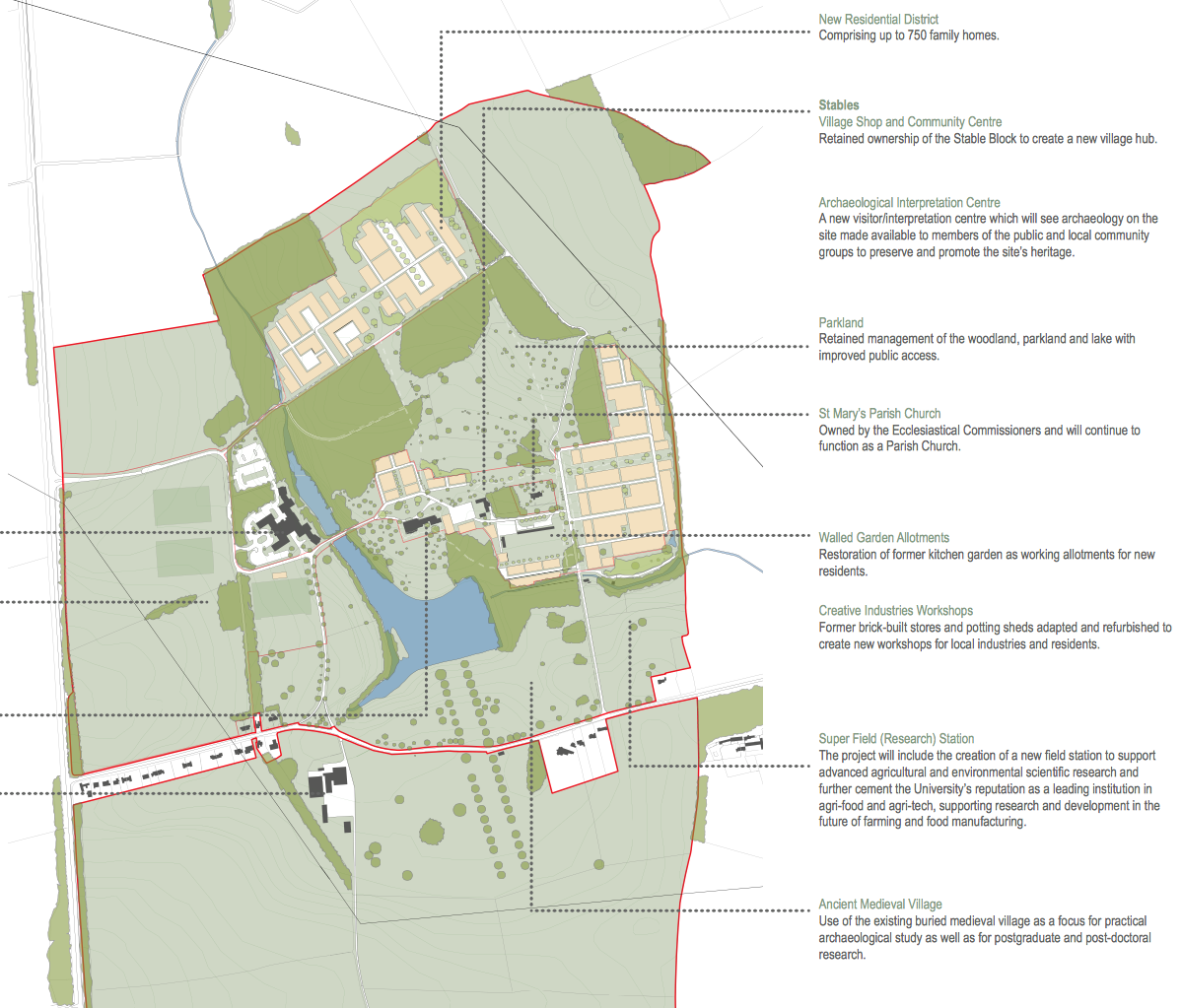 Overview of the proposed masterplan for the development. (Click to view more details)