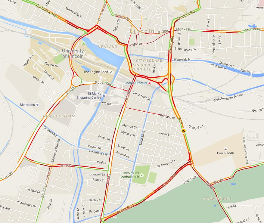 Traffic affected.
