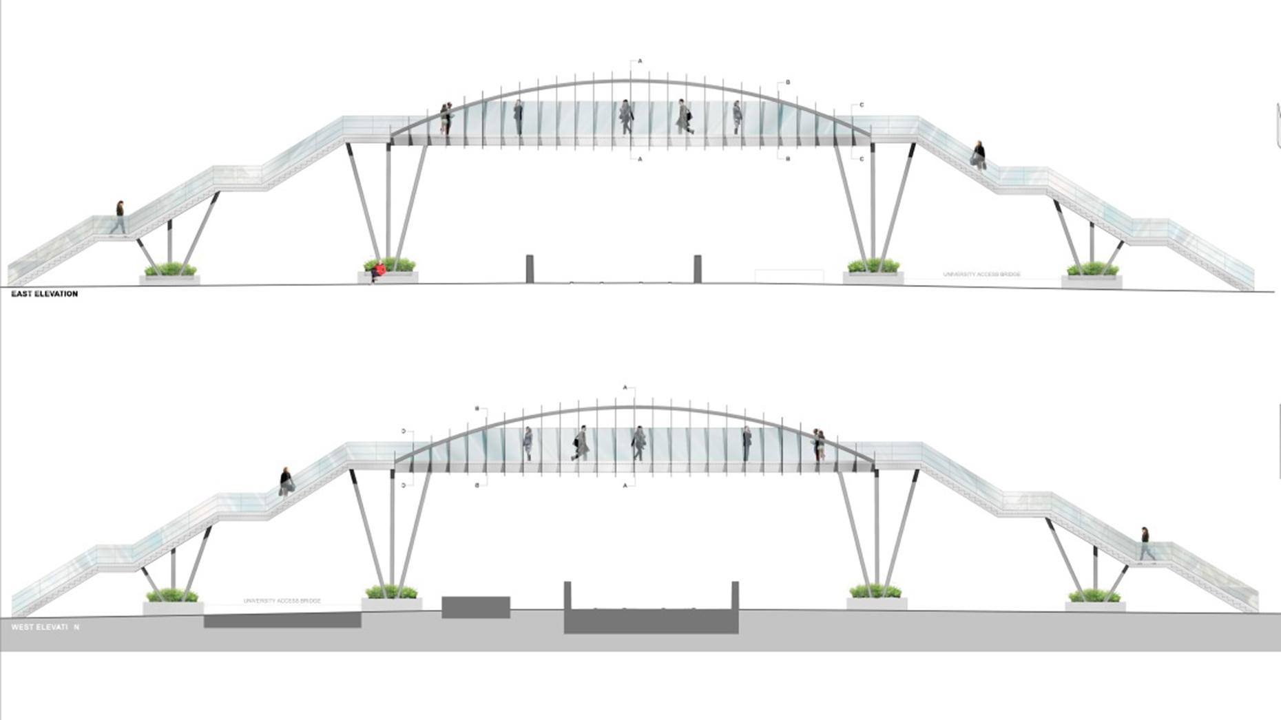 New designs revealed for the Brayford Wharf footbridge on April 8, 2016. Photo: Network Rail
