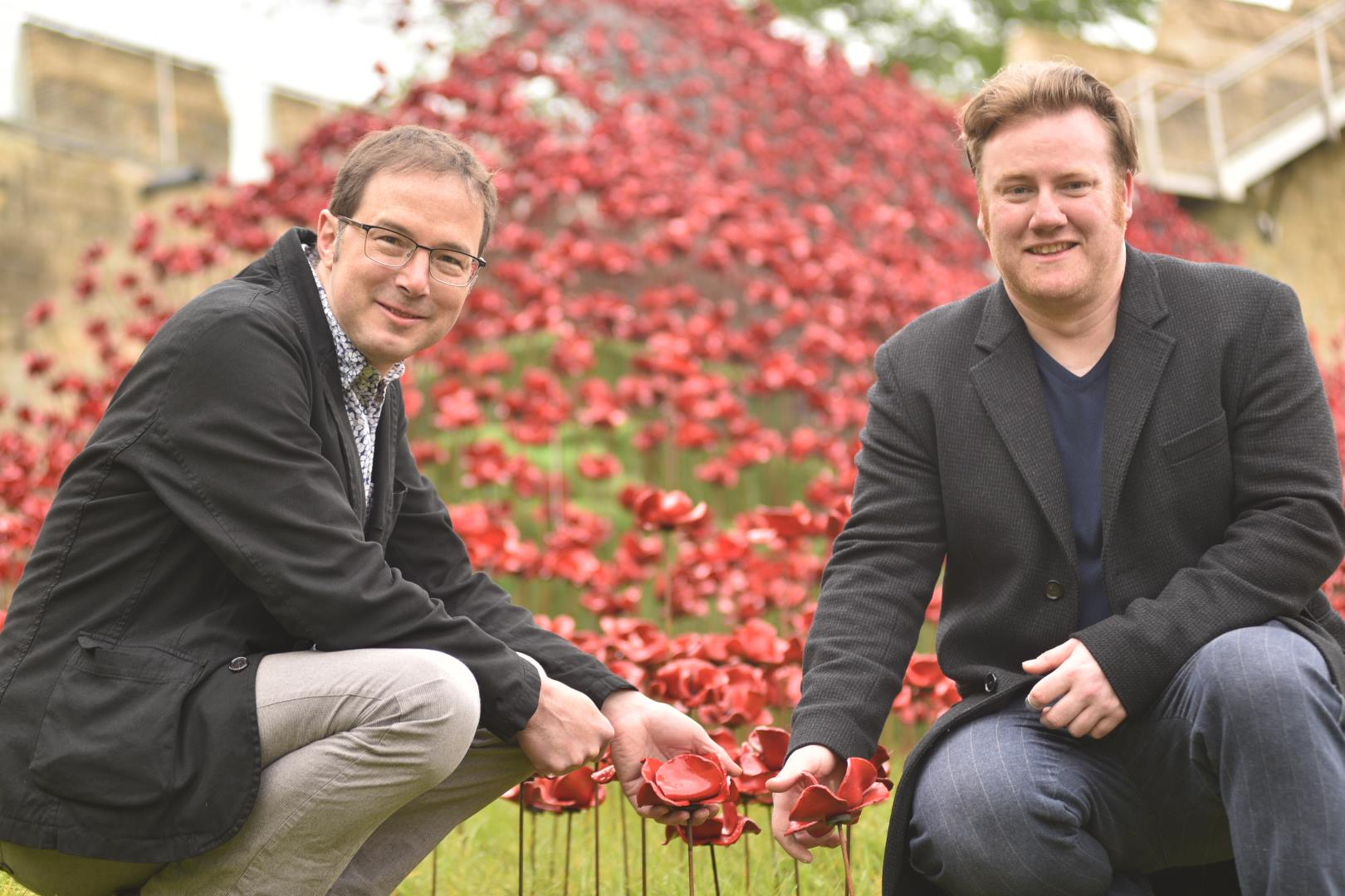 Designer Tom Piper and artist Paul Cummins at Lincoln Castle for Poppies: Wave. Photo: Steve Smailes for The Lincolnite