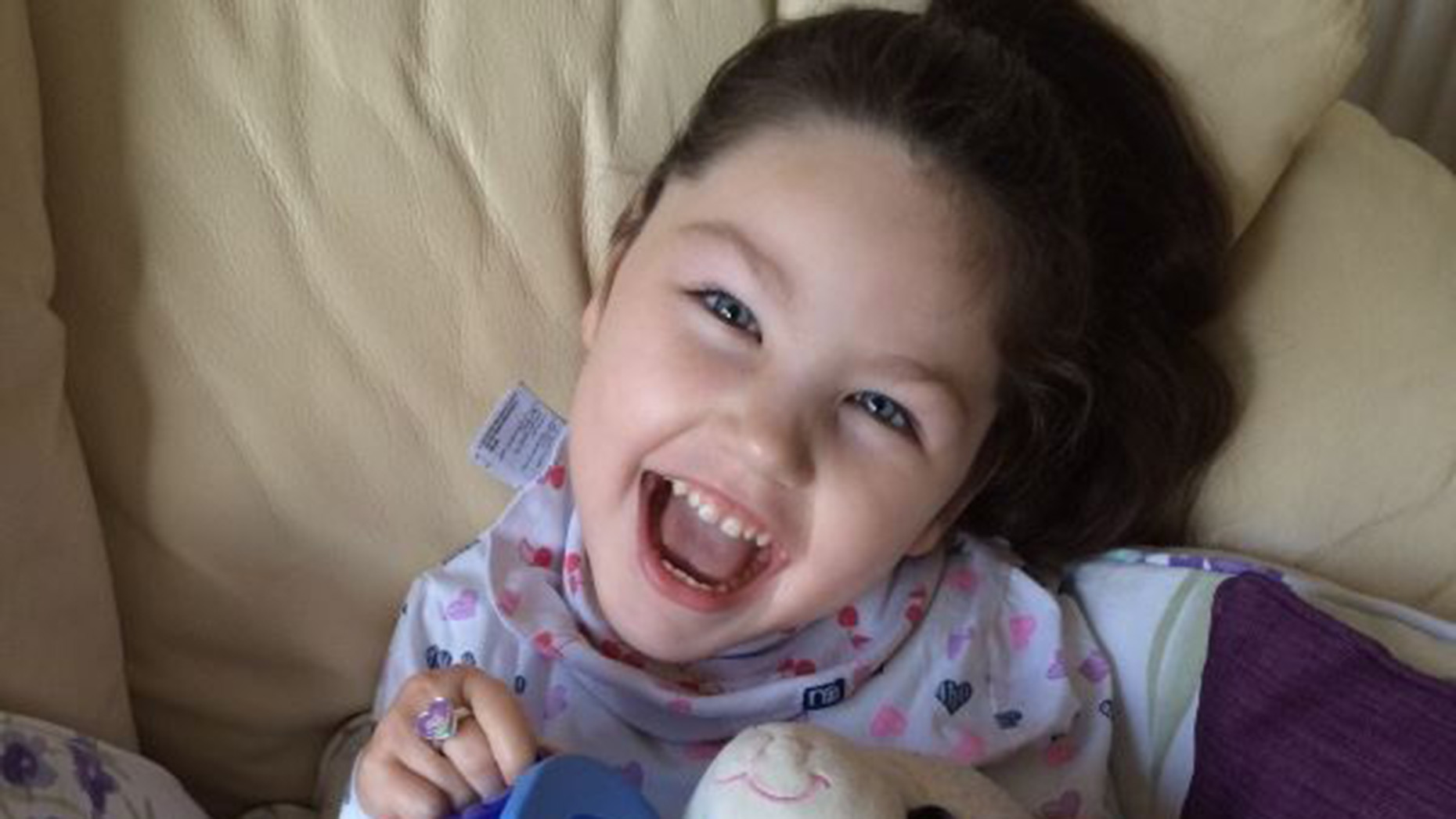 Five-year-old Lilly Desforges, who suffers from cerebral palsy