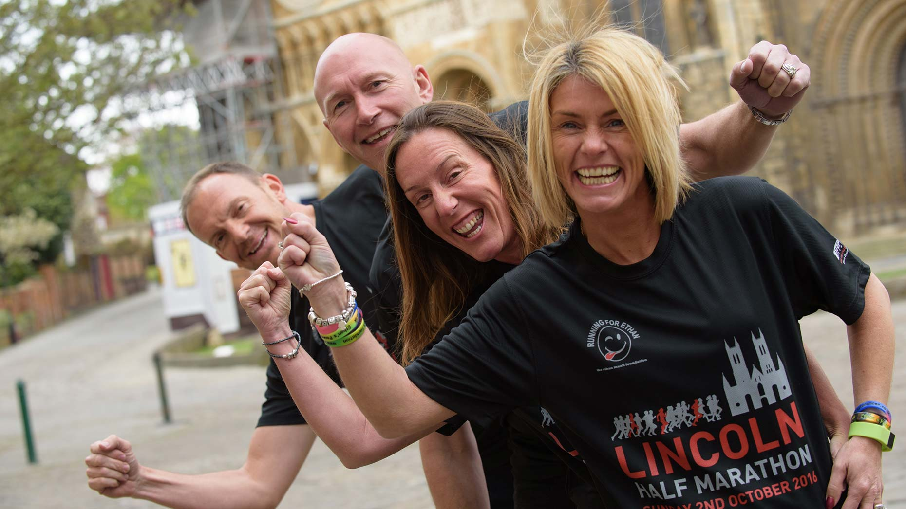 The race is expecting to raise around £250,000 for Ethan's charity. Pictured is organisers Iain and Teresa Hamilton and Ethan's parents Sam and Darren. Photo: Steve Smailes for The Lincolnite.