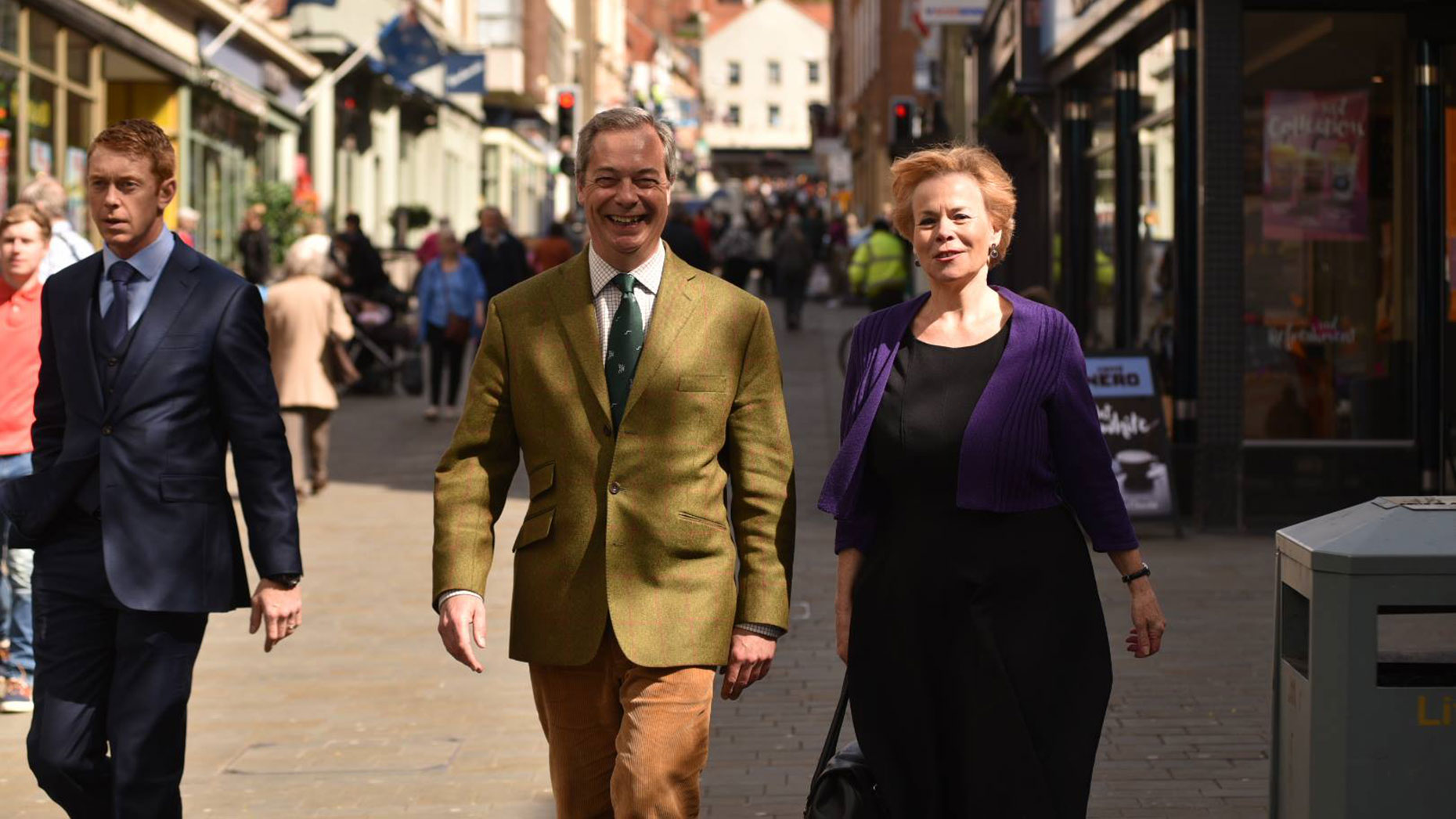 Farage and Victoria Ayling in Lincoln. Photo: Steve Smailes for The Lincolnite