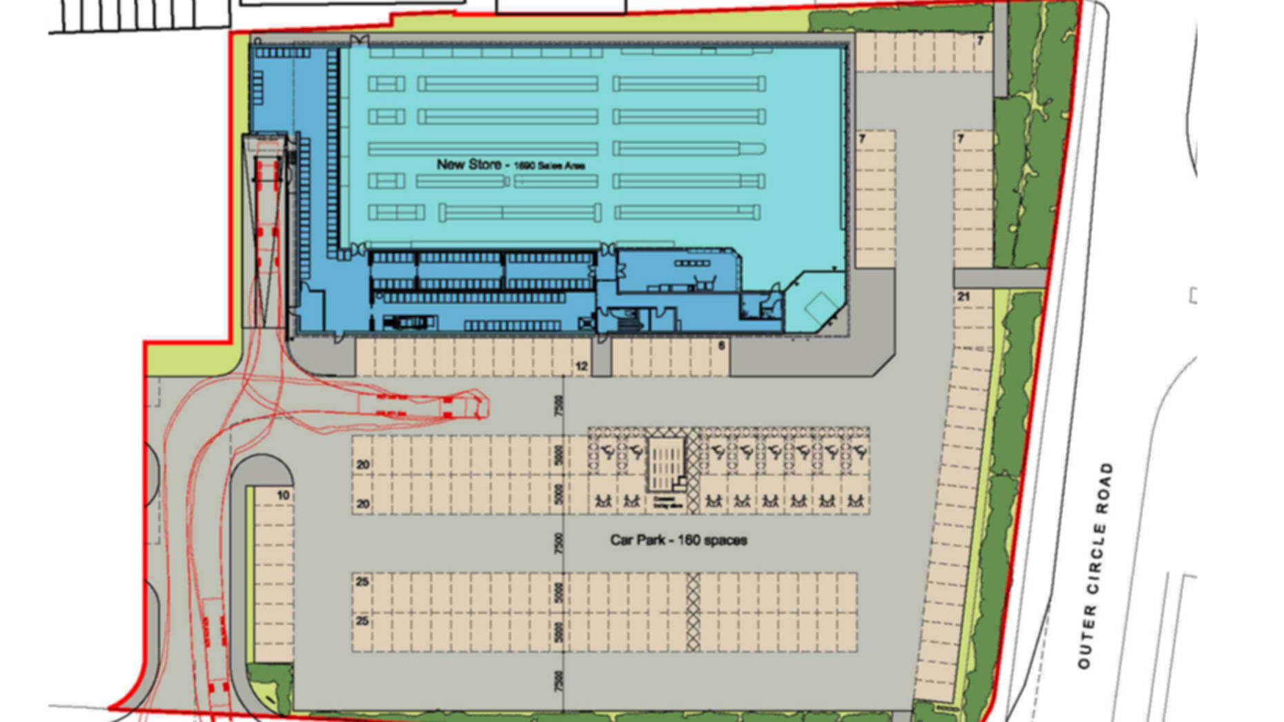 Site plans for a new Lidl store on Deacon Road, Lincoln