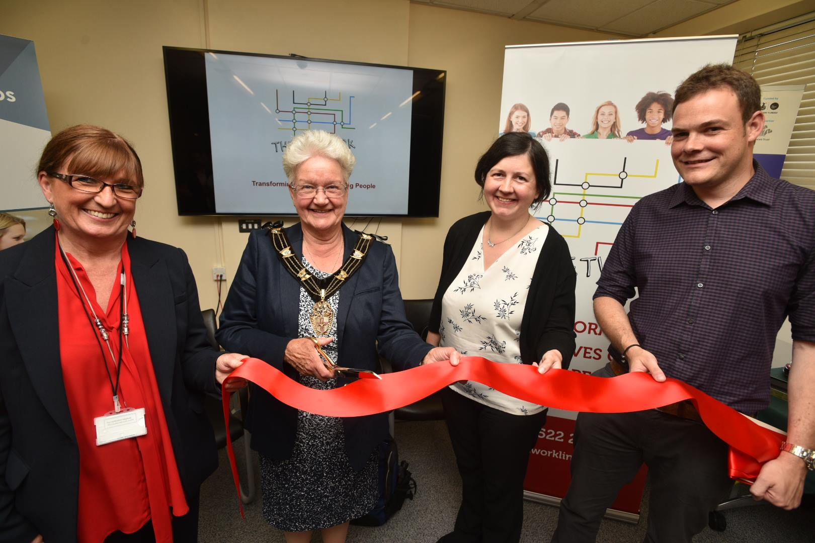 (L-R) Gail Dunn, Chair of Trustees for The Network, Yvonne Bodger, Mayor of Lincoln, Councillor Rose Ankirk and Ben Barley, Chief Executive for Voluntary Centre Services