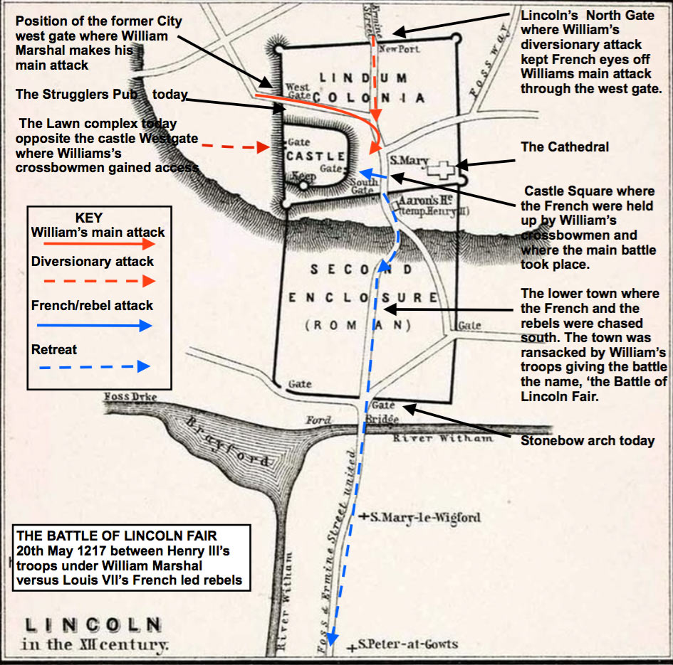 Medieval battle map showing Lincoln's familiar landmarks.
