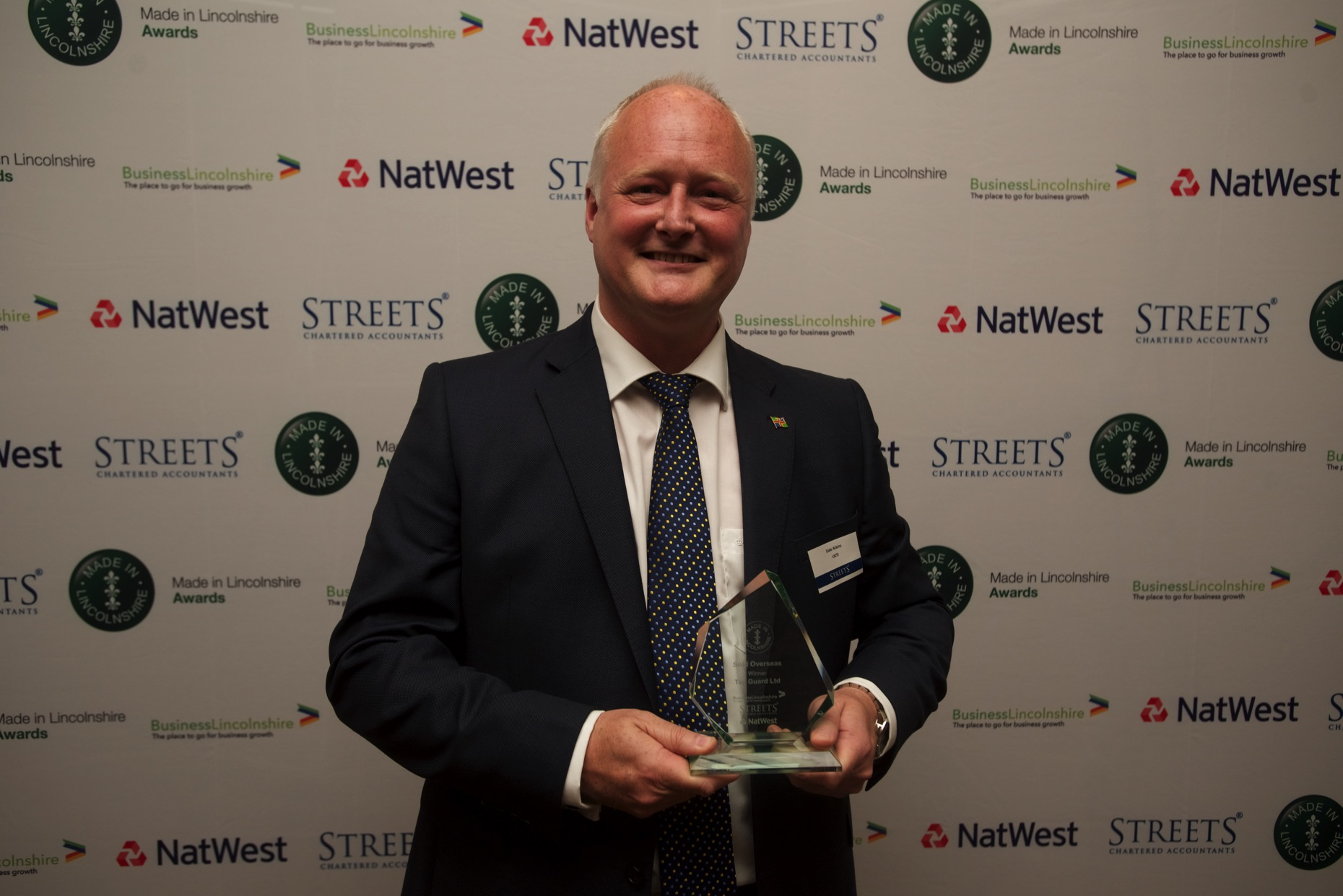 Tag Guard were unable to attend to collect the award for Made in Lincolnshire Sold Overseas. Dale Atkins, International Trade Advisor for UKTI accepted on their behalf.