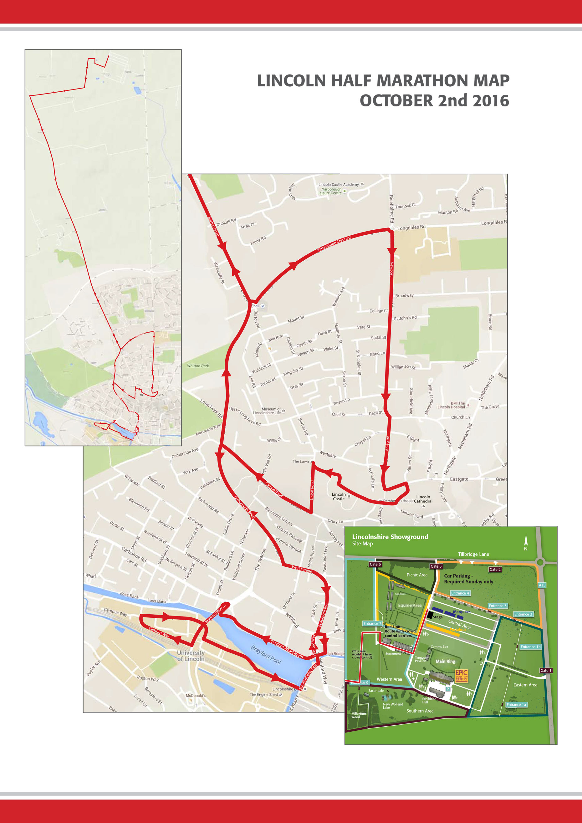 The 13.1 mile route ffromt eh Lincolnshire Showground