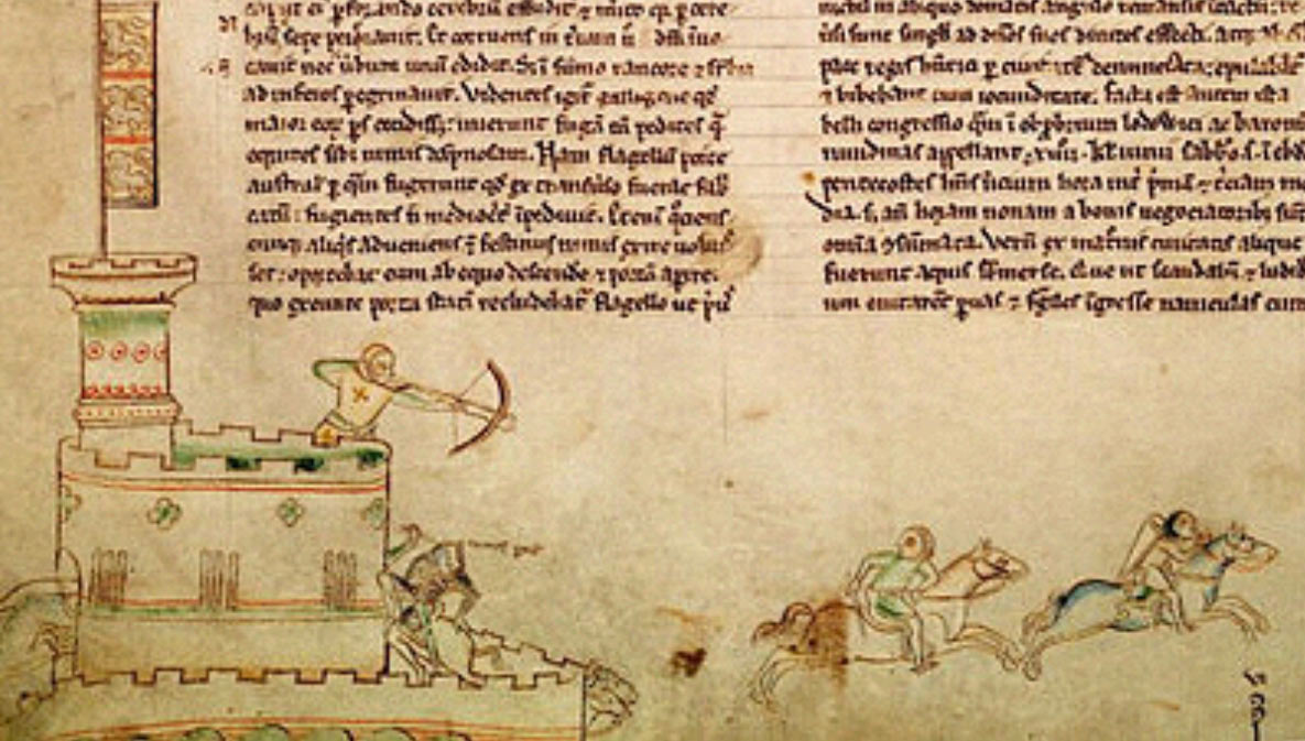 Medieval manuscript showing the the battle.