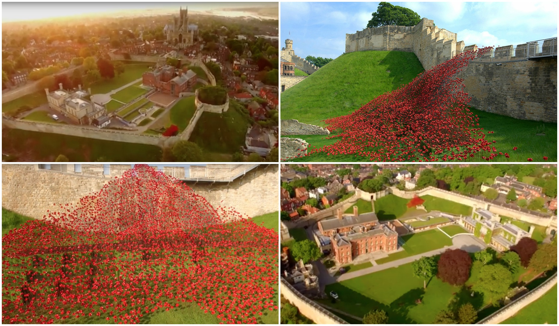 The footage was captures from the skies above Lincoln Castle.