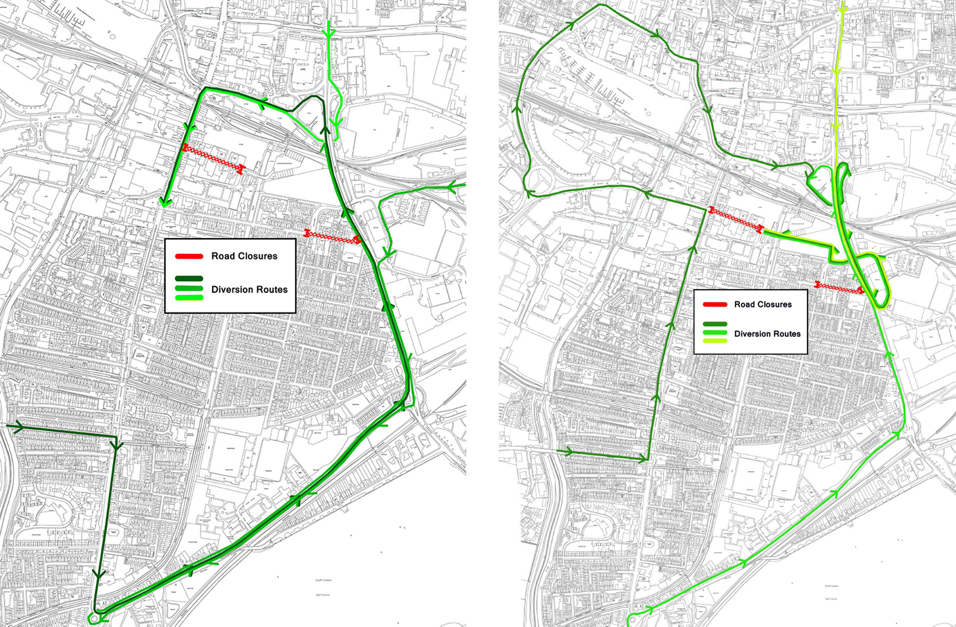 Diversion routes outlined for Tentercroft Street and Portland Street. (Click to enlarge)