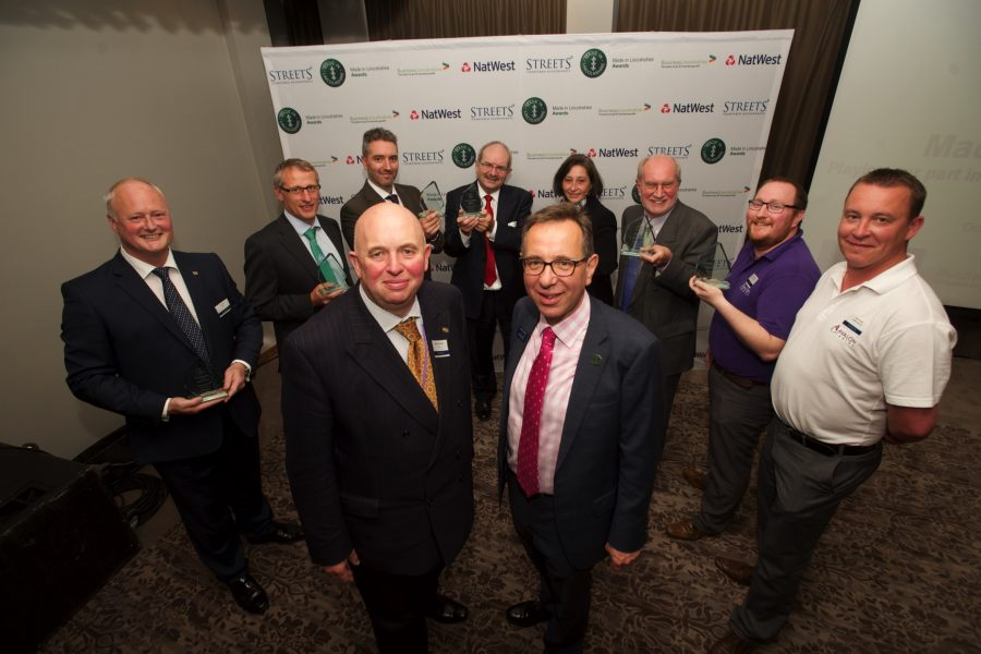 Winners of the first Made in Lincolnshire Awards with Councillor Colin Davie, Executive Councillor for Development at Lincolnshire County Council and Streets Chartered Accountants Marketing Partner James Pinchbeck. Photo: Steve Smailes