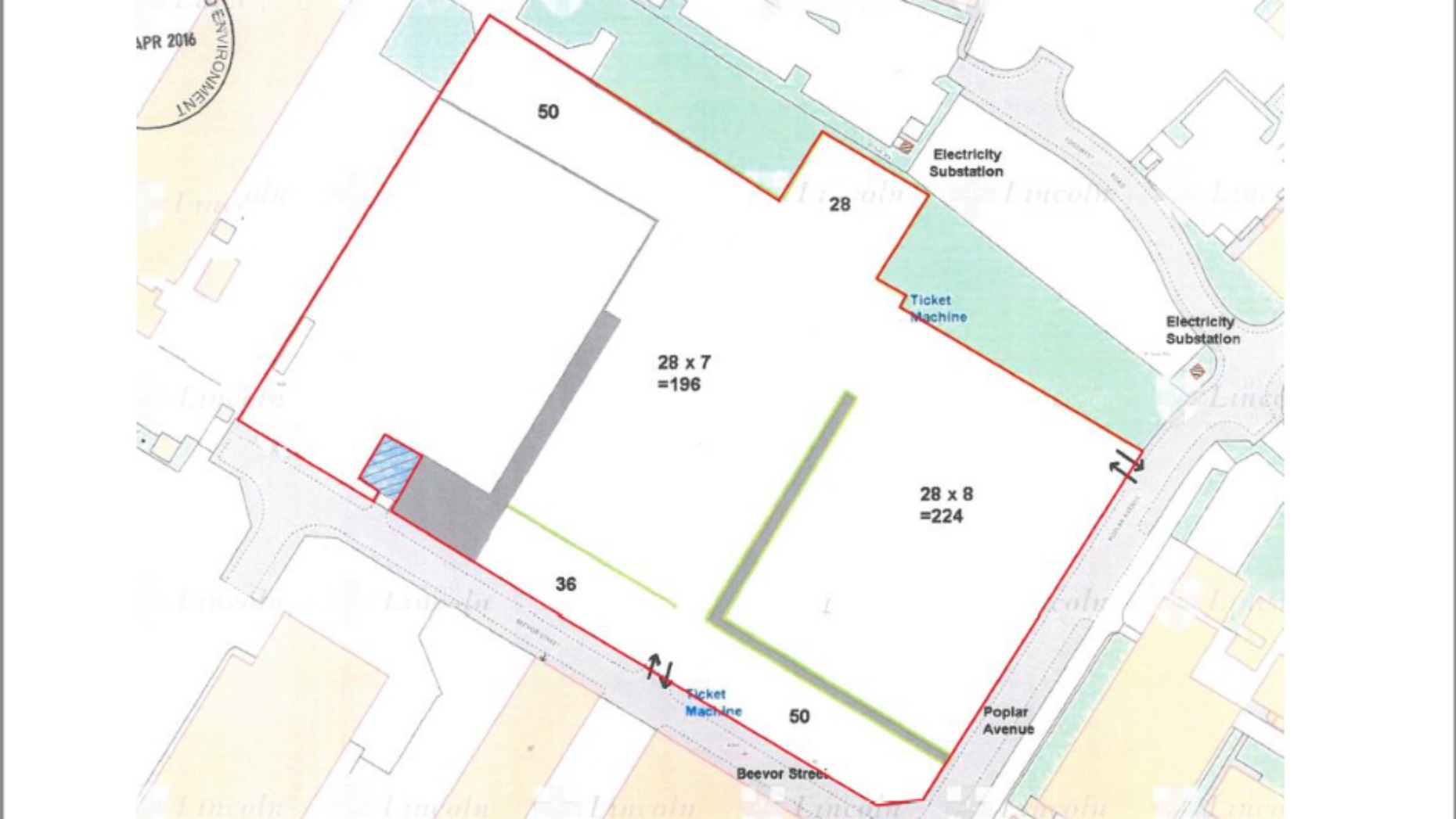The site layout for the temporary car park bound by Beevor Street and Poplar Avenue. Photo: CoLC