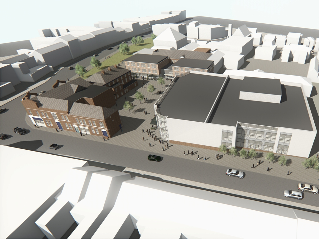 Artist's impression of the cinema from St Catherine's Road, Grantham