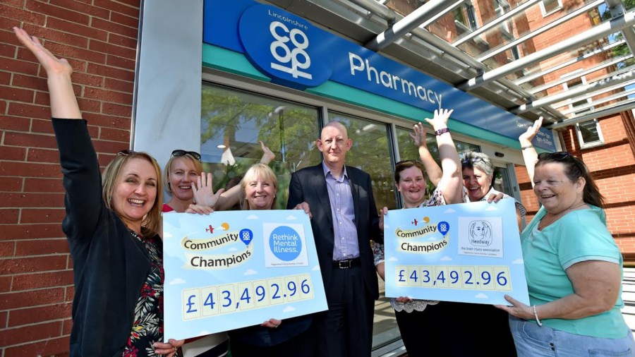(Left to right) Lincolnshire Co-op's Anna-Marie Clarke, Lincolnshire Co-op's Sam Turner, Rethink's Helen Doyle, Lincolnshire Co-op Head of Pharmacy Alastair Farquhar, Headway's Ann-Marie Smith, Headway's Jane Reams and Headway's Hilary Liddle.