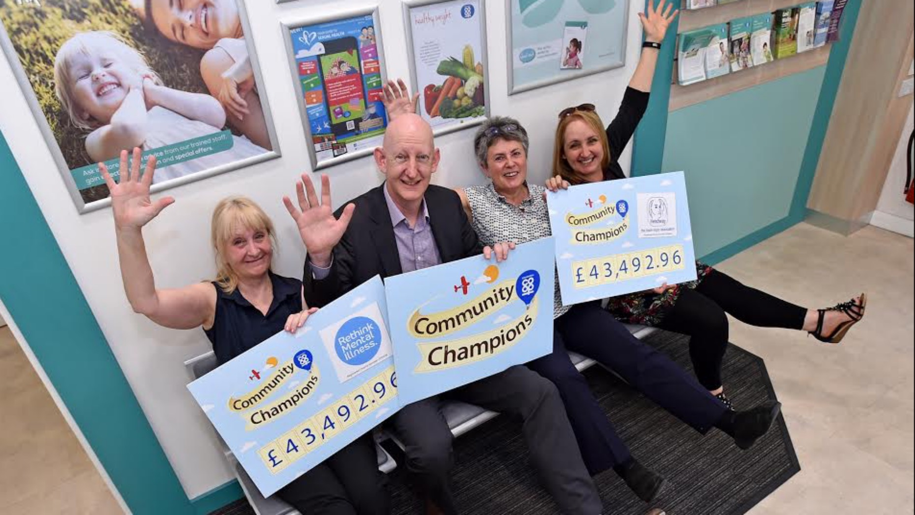 (Left to right) Rethink's Helen Doyle, Lincolnshire Co-op Head of Pharmacy Alastair Farquhar, Headway's Jane Reams and Lincolnshire Co-op's Anna-Marie Clarke.