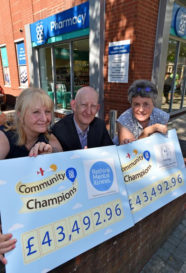 (Left to right) Rethink's Helen Doyle, Lincolnshire Co-op Head of Pharmacy Alastair Farquhar and Headway's Jane Reams.