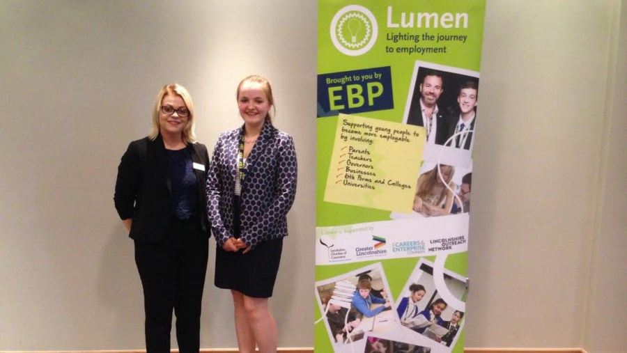 The EBP's Laura Hopton and Olivia Tant from QEGS Horncastle.