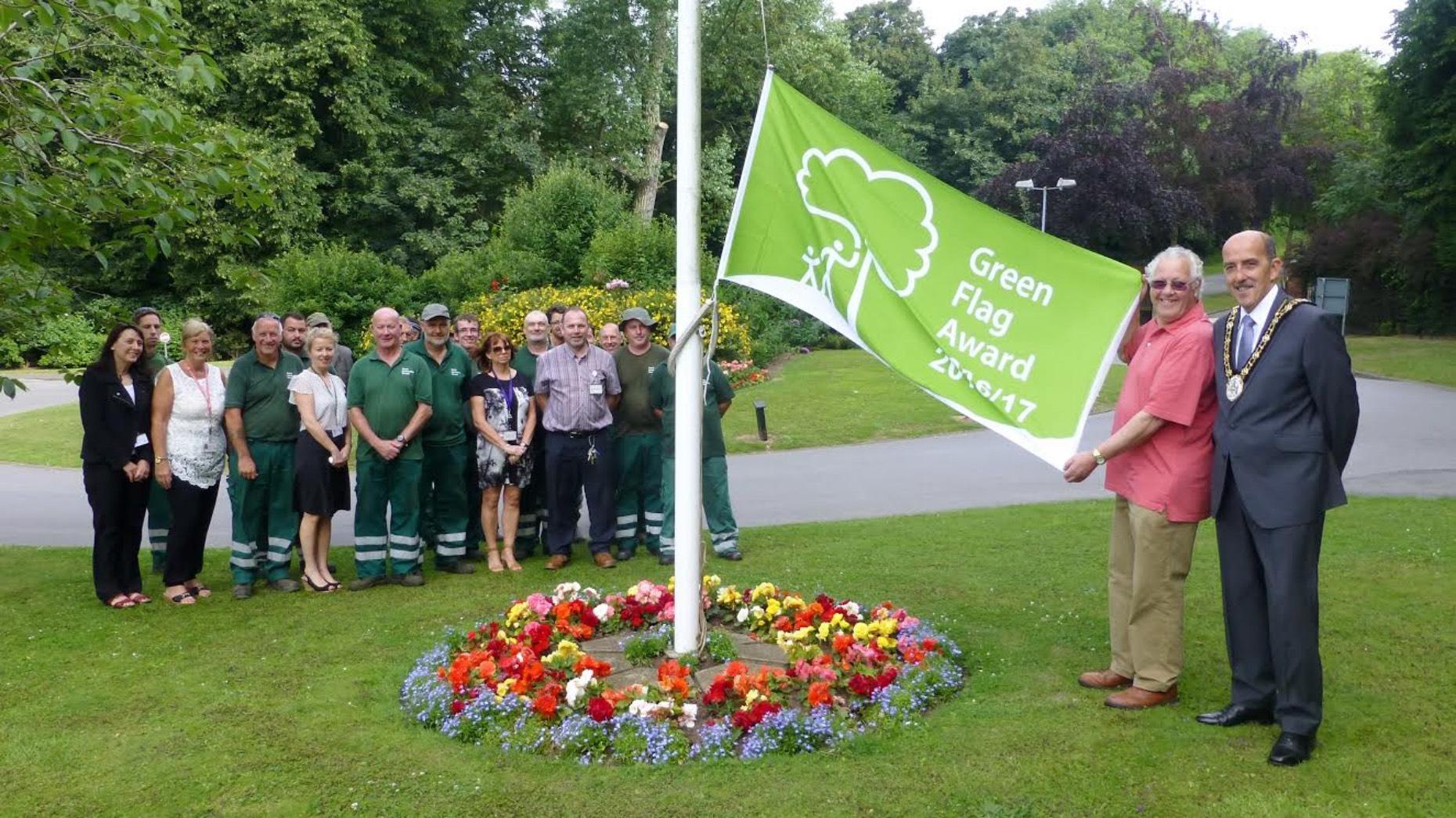 Councillor Trevor Foster, Mayor of North Lincolnshire, and staff from North Lincolnshire Council grounds maintenance teams.