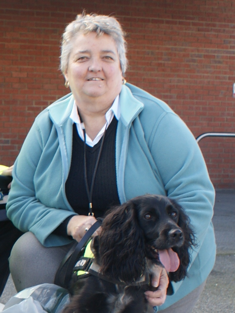 Cllr Hazel Chase with detection dog Scamp
