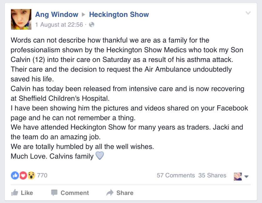 Ang's message on the Heckington Show Facebook page.
