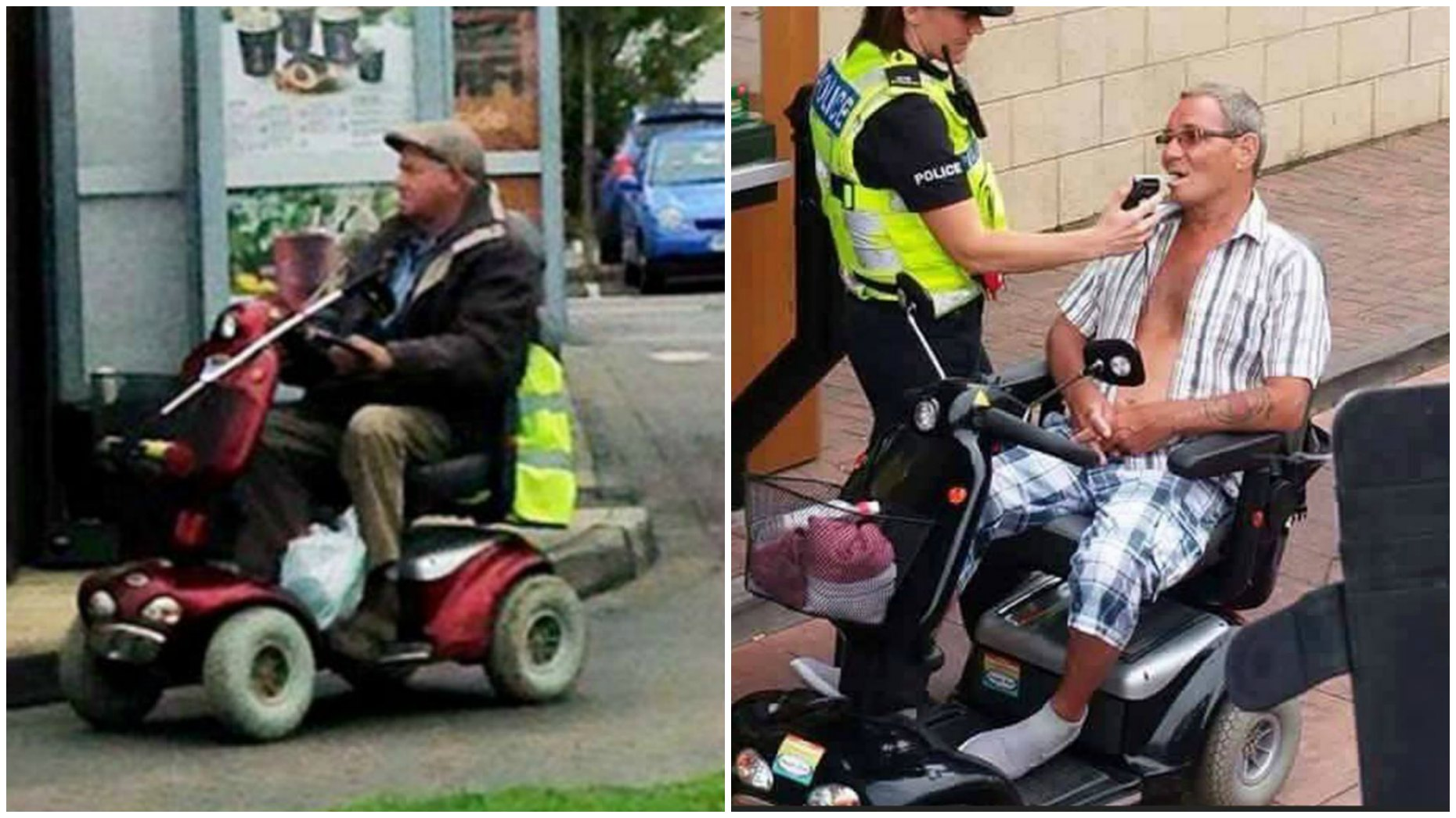 Same scooter, but different service: (L) Man being served at a McDonald's drive-thru on a scooter in 2015 in Wiltshire. Photo: Jonathon Owens. (R) Man using a McDonald's drive-thru on a mobility scooter in 2016 in Skegness but has been denied service and arrested. Photo: Emma Aque