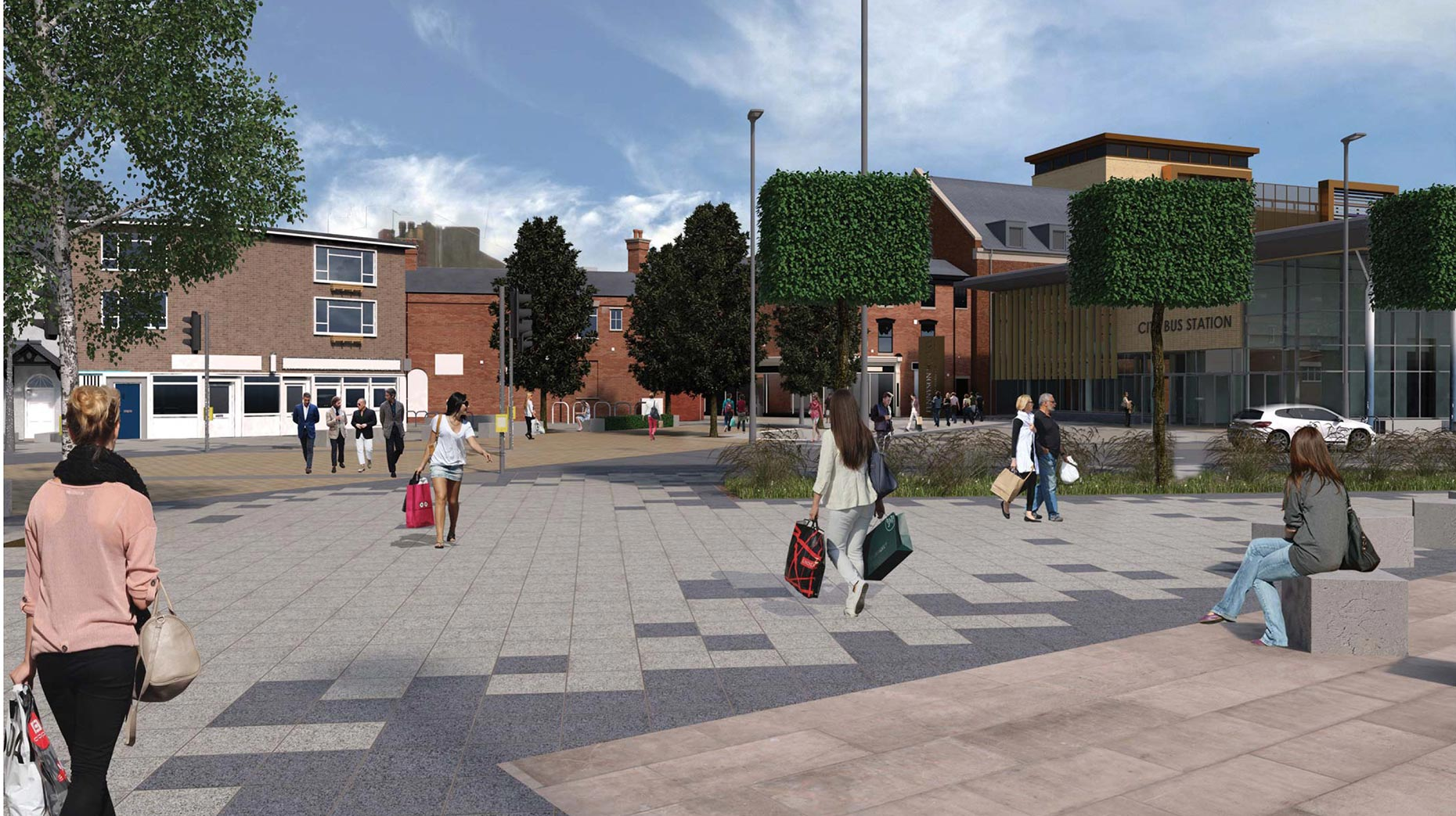 Artist impressions of the new Lincoln Transport Hub: CoLC