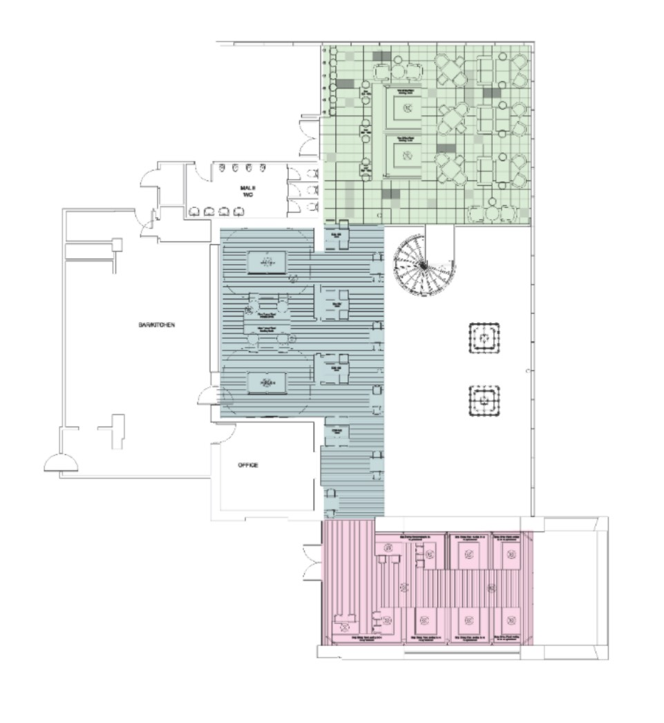 Blue: Games areas, Pink: Dining Area, Green: Lounge Area
