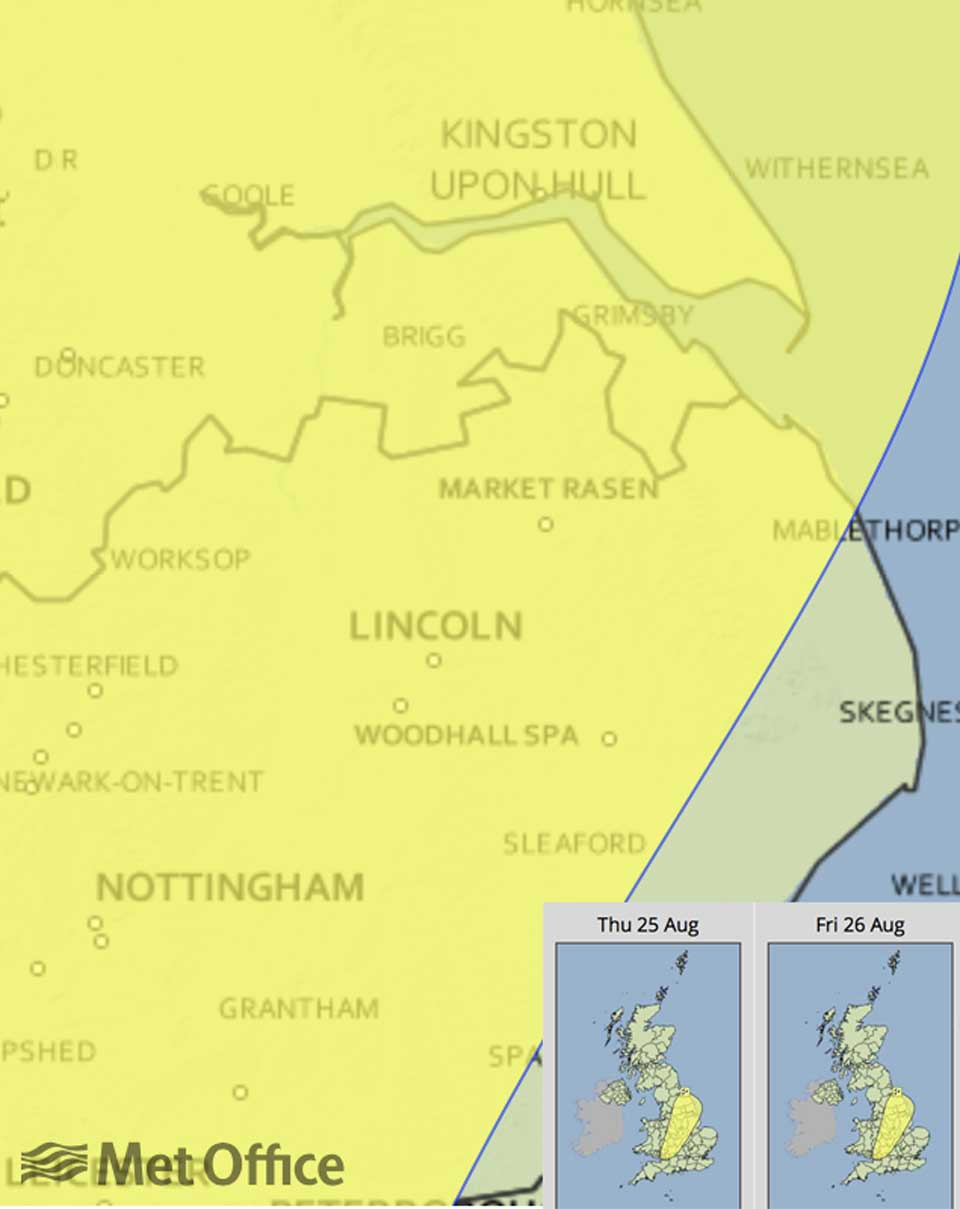 Areas of rain, locally thundery, will develop across the warning area during Thursday afternoon, evening and overnight. Graphic: Met Office