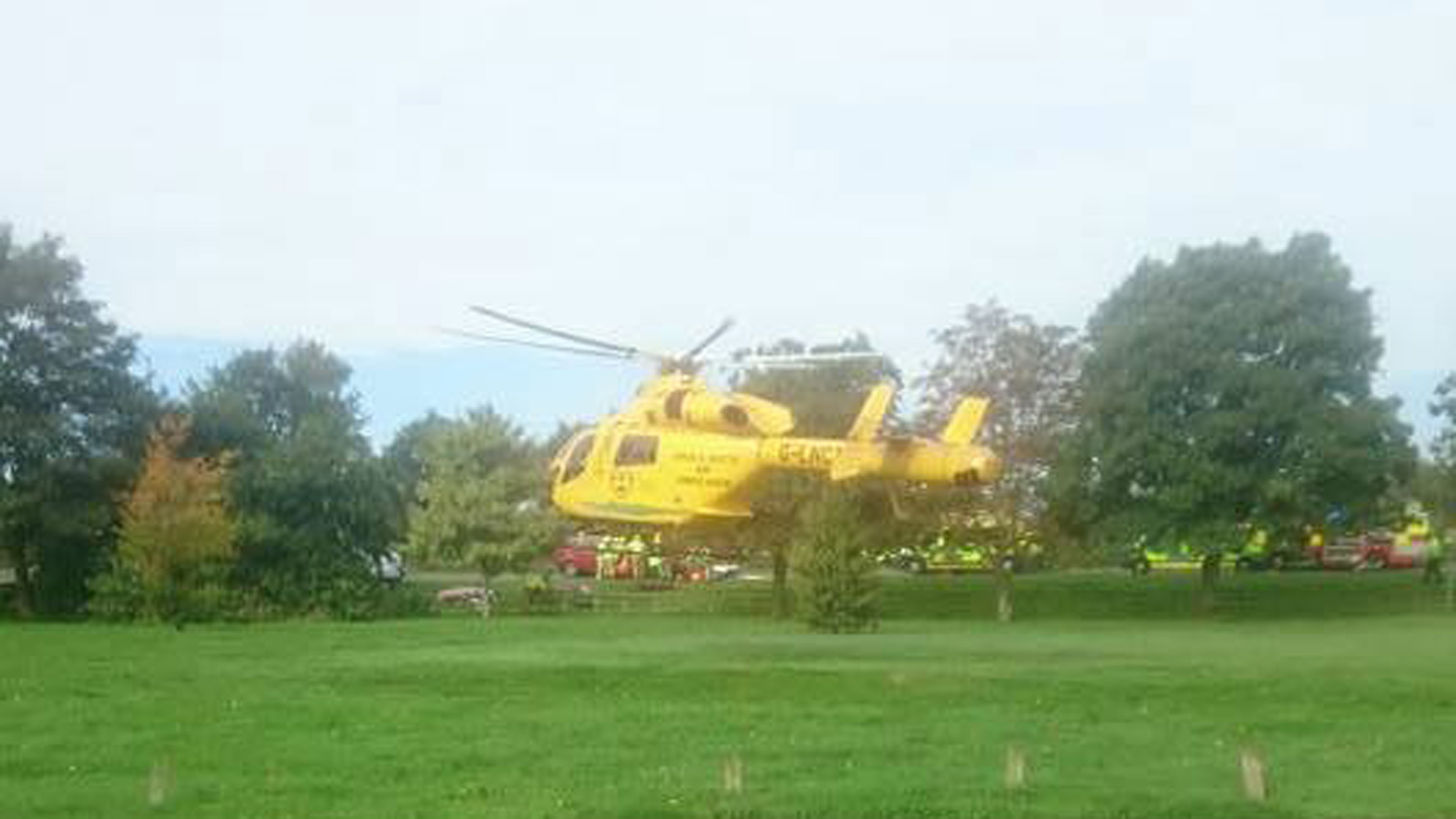 The woman was airlifted to Queen's Medical Centre in Nottingham after the crash.