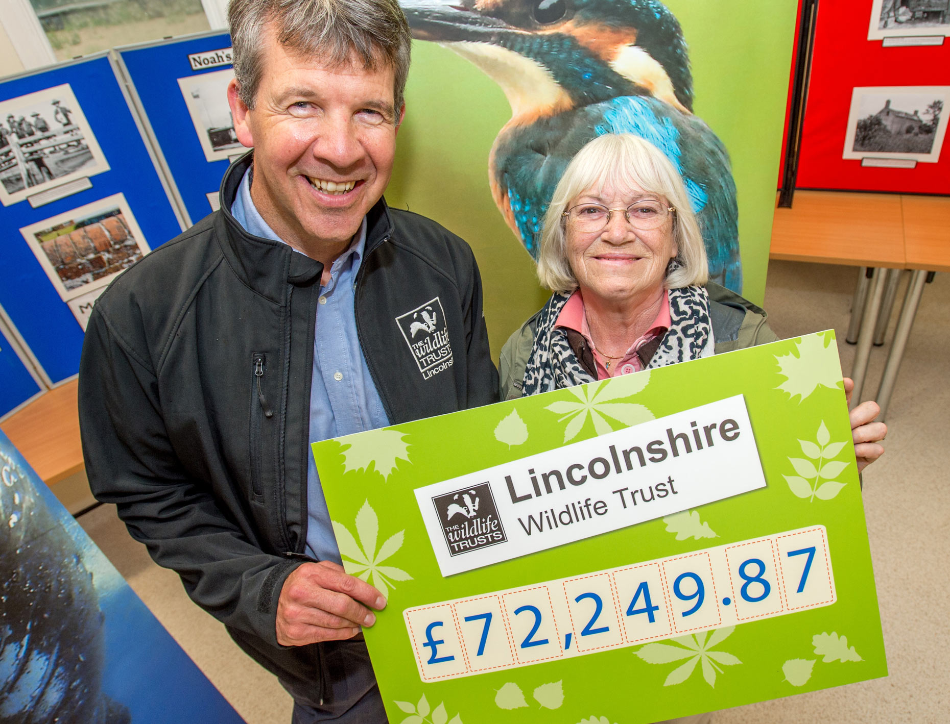 (L-R) Chief Executive of Lincolnshire Wildlife Trust Paul Learoyd being presented with a cheque for £72,249.87 by Lincolnshire Co-op Director Margaret Tranter at Gibraltar Point Nature Reserve.