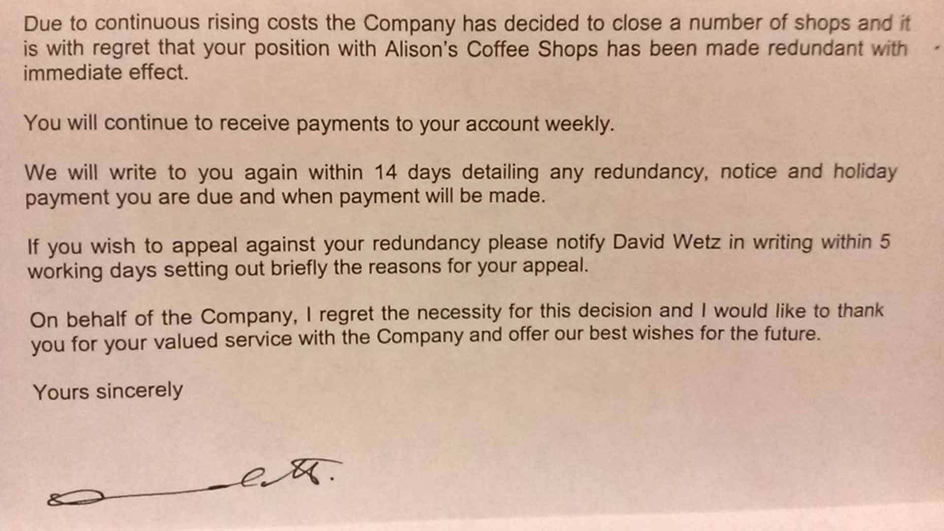 Cooplands employee received a letter to confirm they had been made redundant