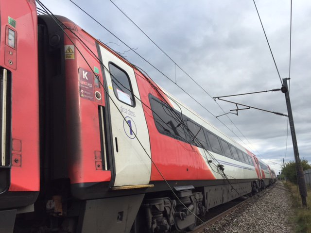 A Virgin train was caught on damaged cabling on Tuesday.
