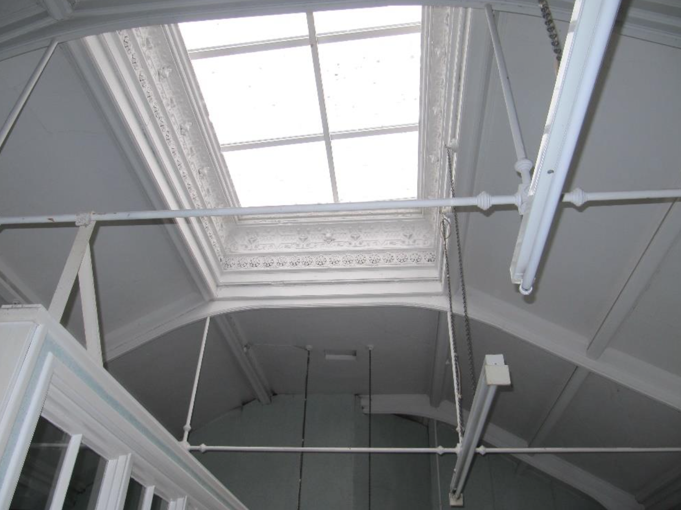 The ceiling space inside the building.
