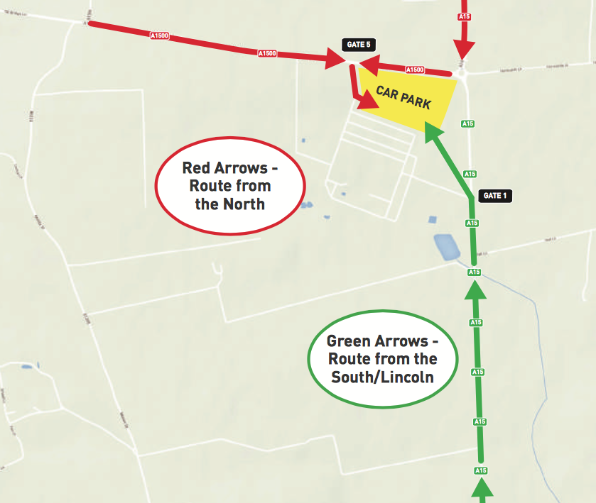 Routes into Lincolnshire Showground.