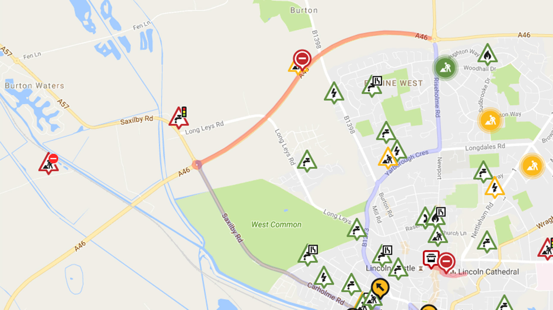 Th section of the A46 Lincoln bypass will be closed overnight from October 24.