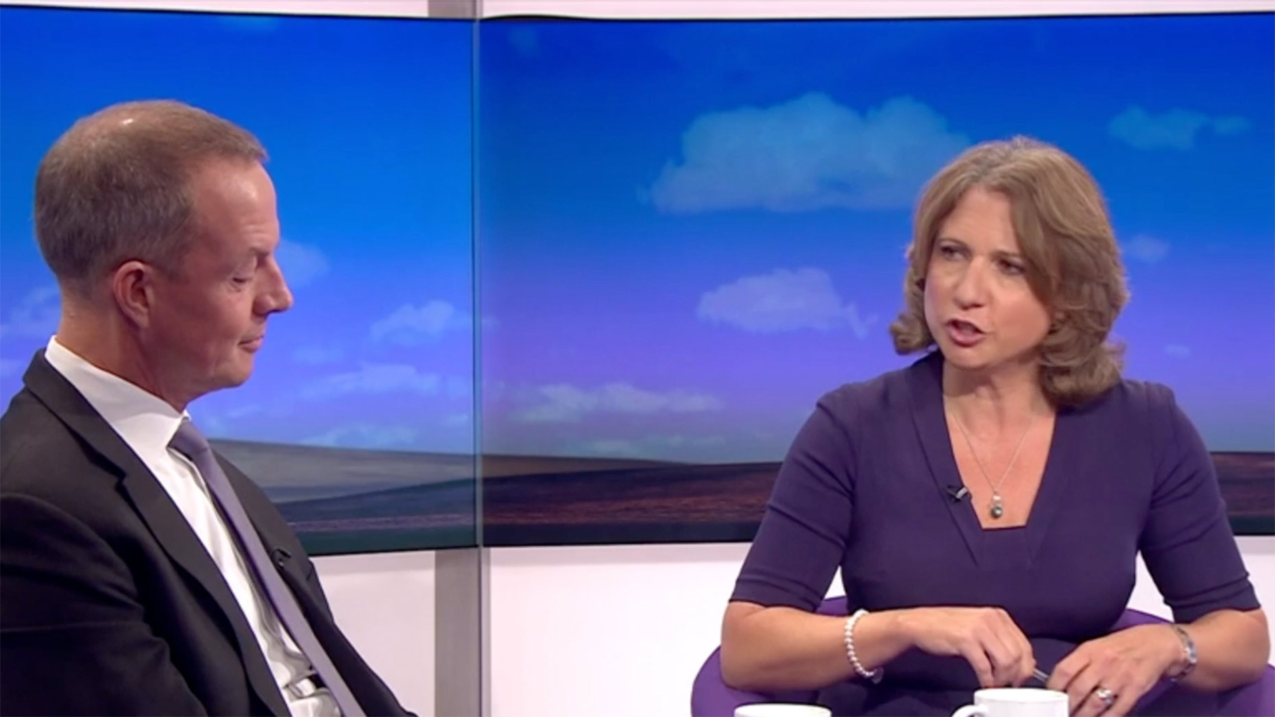 Boles looking unimpressed at the questions being asked by BBC presenter Jo Coburn
