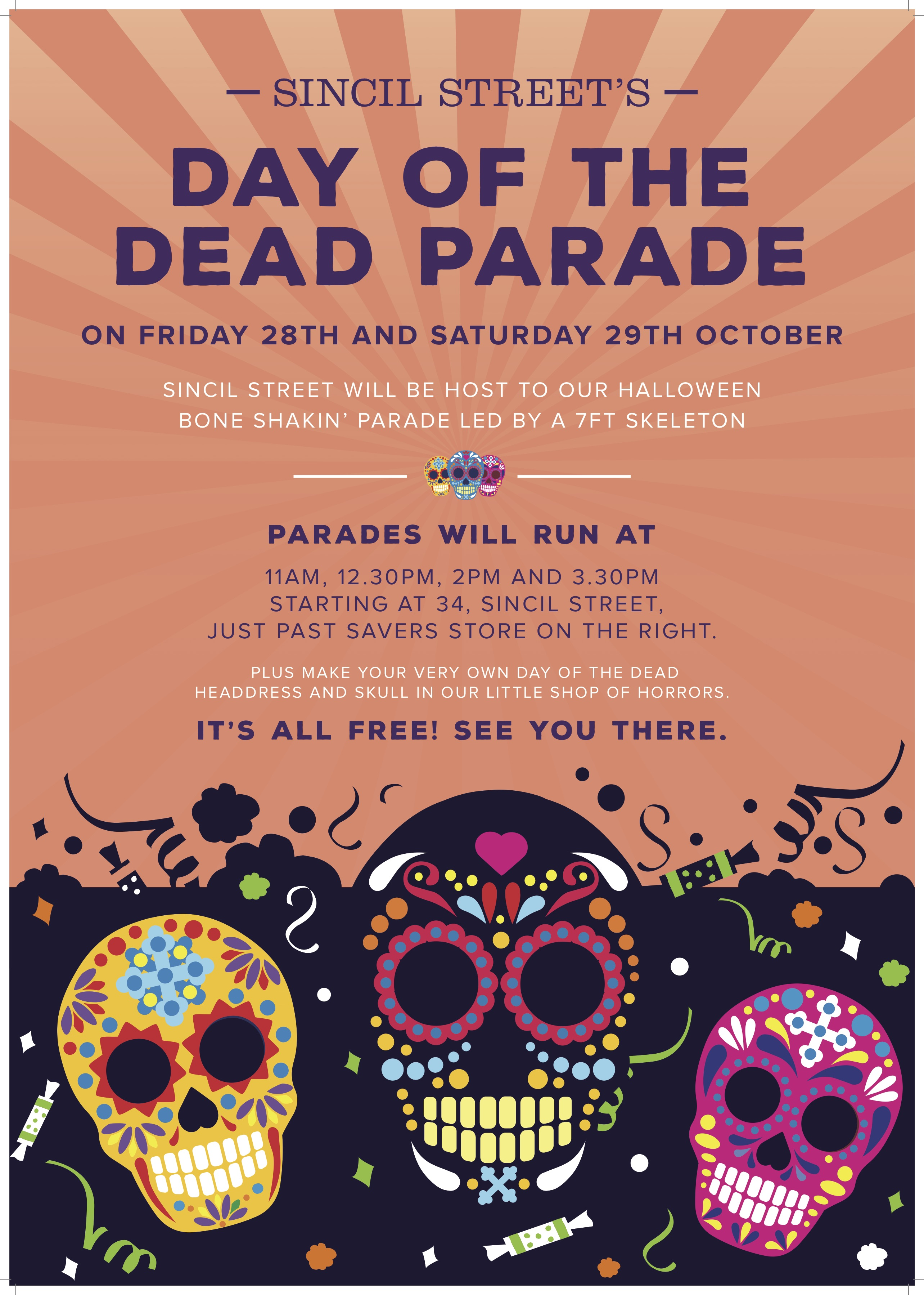 The parade takes place on Friday, October 28 and Saturday, October 19.