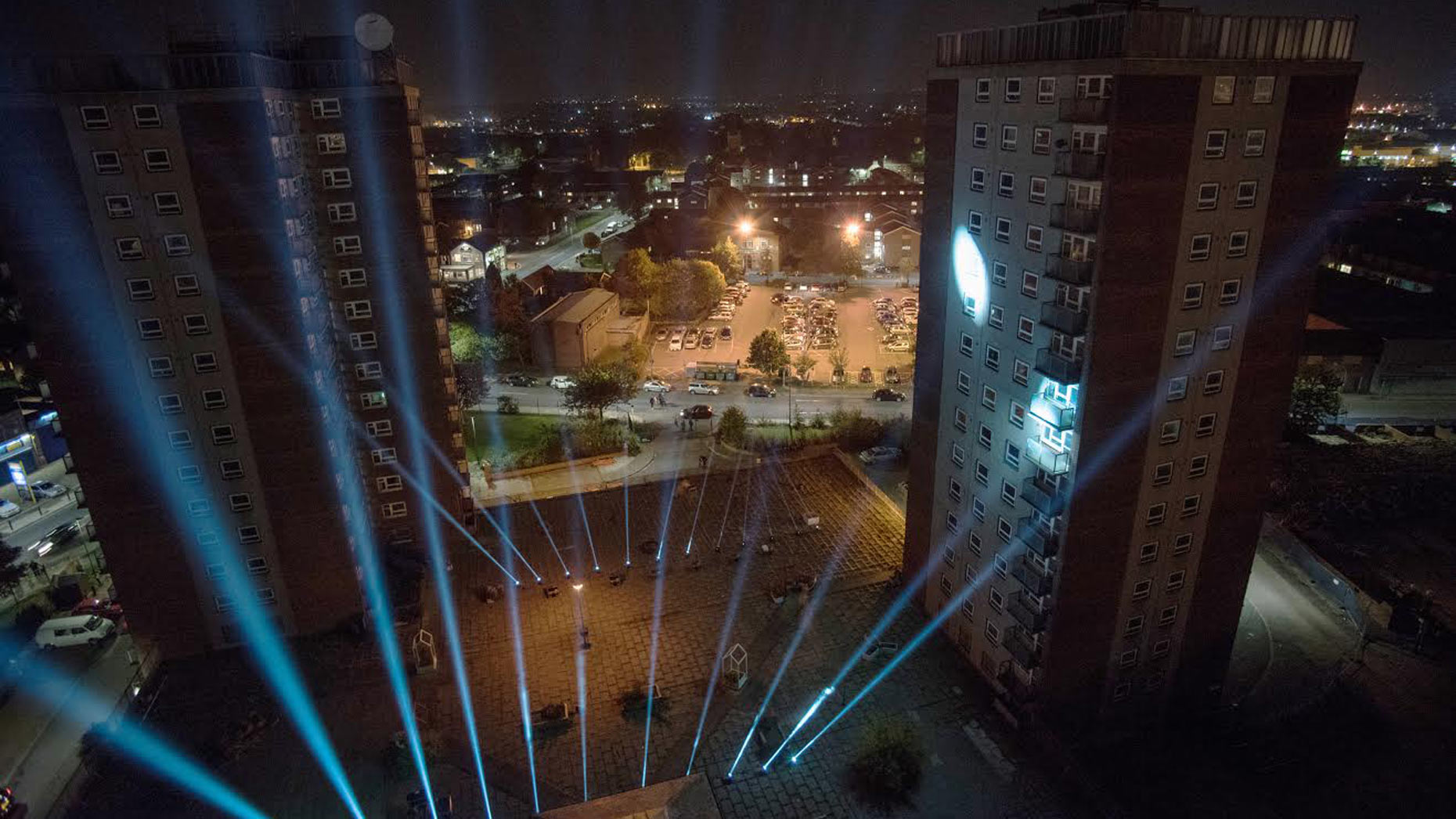 Beacons of light at at Grimsby's East Marsh high-rise flats.