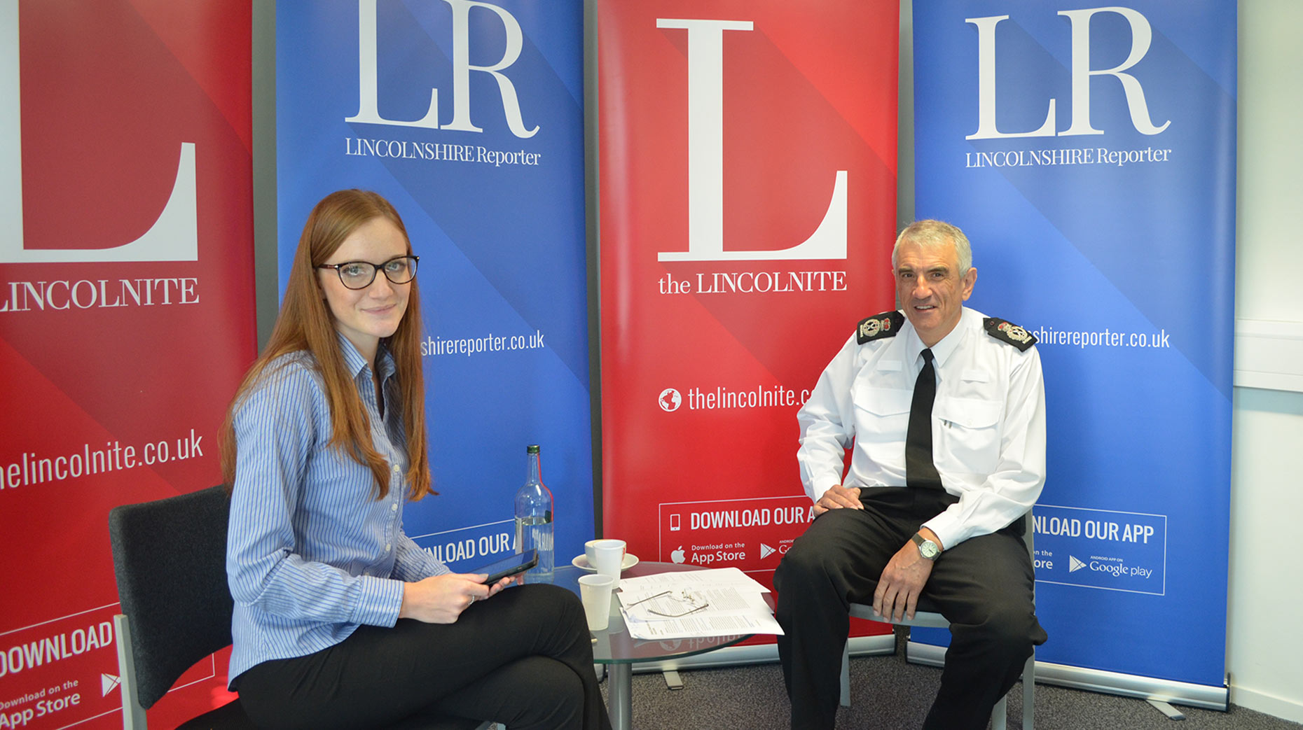 Readers were able to put their questions to the policing leader on October 25. Pictured: Neil Rhodes with The Lincolnite's Emily Norton