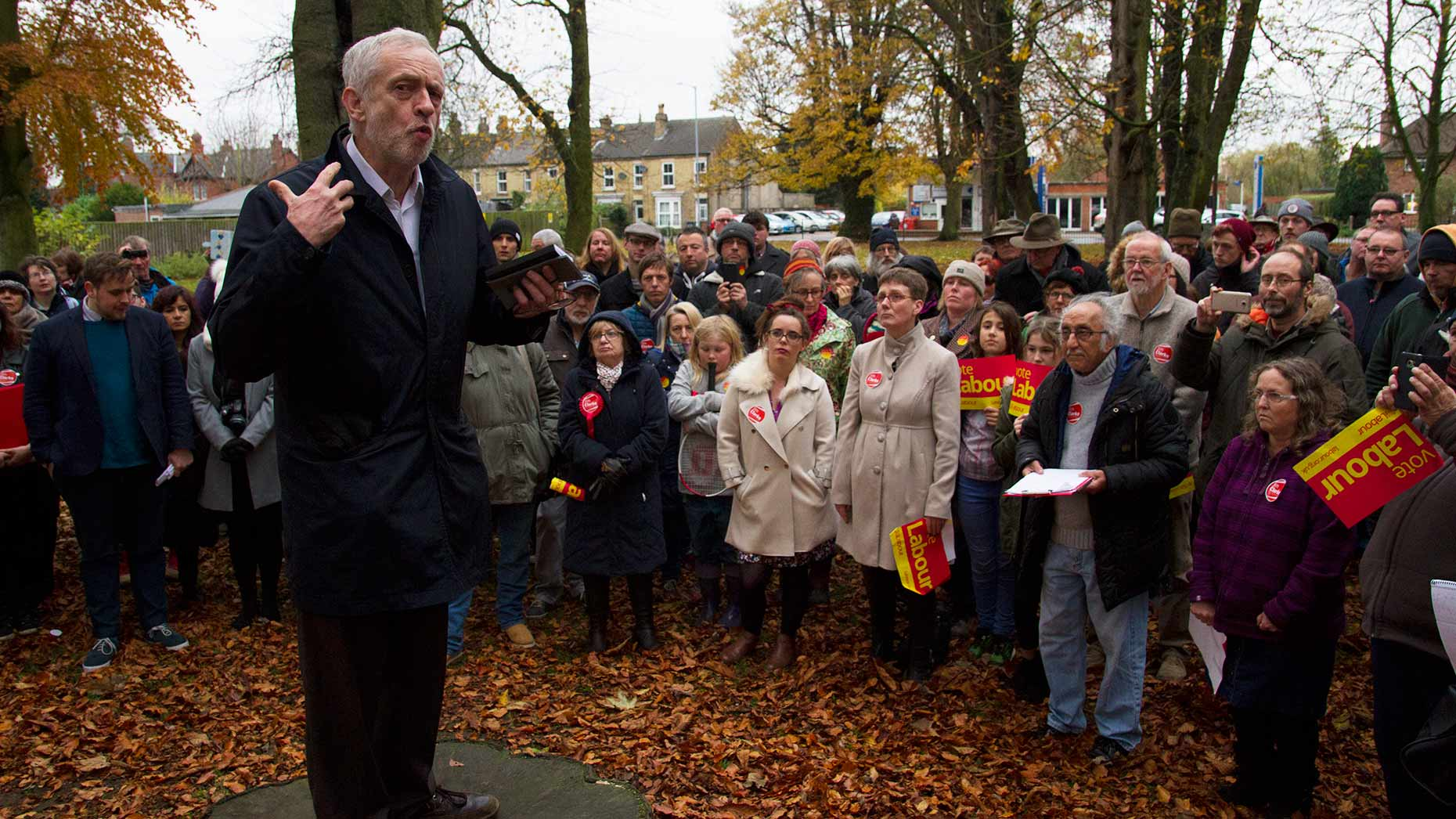 Corbyn addressing his supporters. Photo: Jack Creasey for Lincolnshire Reporter