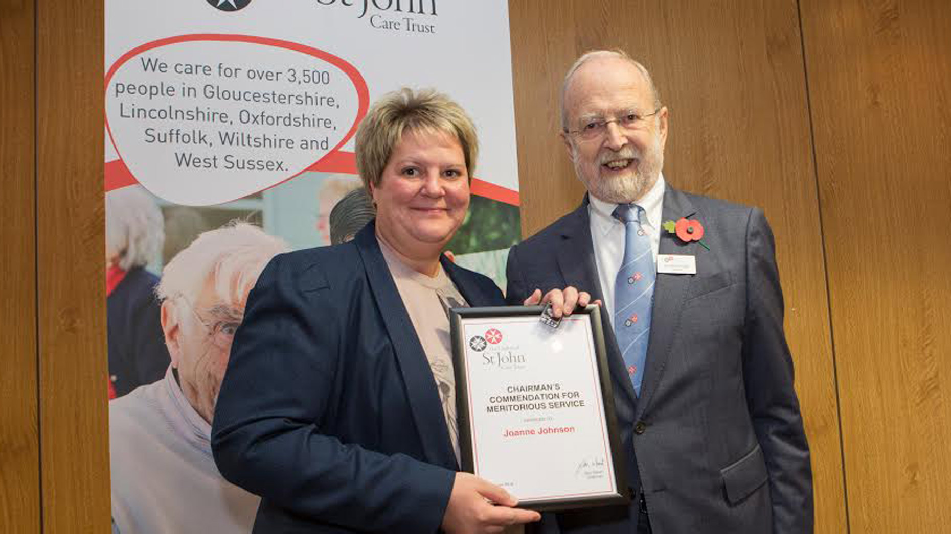 Joanne Johnson with Don Wood, CBE, OSJCT's Chairman of Trustees