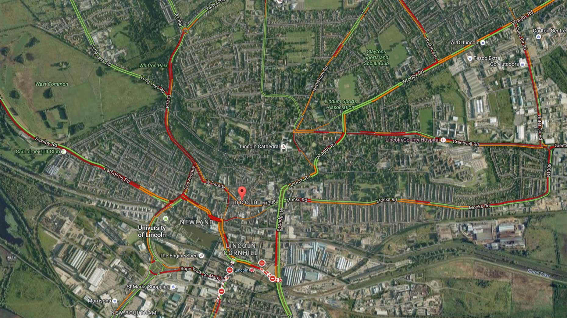 Traffic in Lincoln as heavy following the road closures. Photo: Google