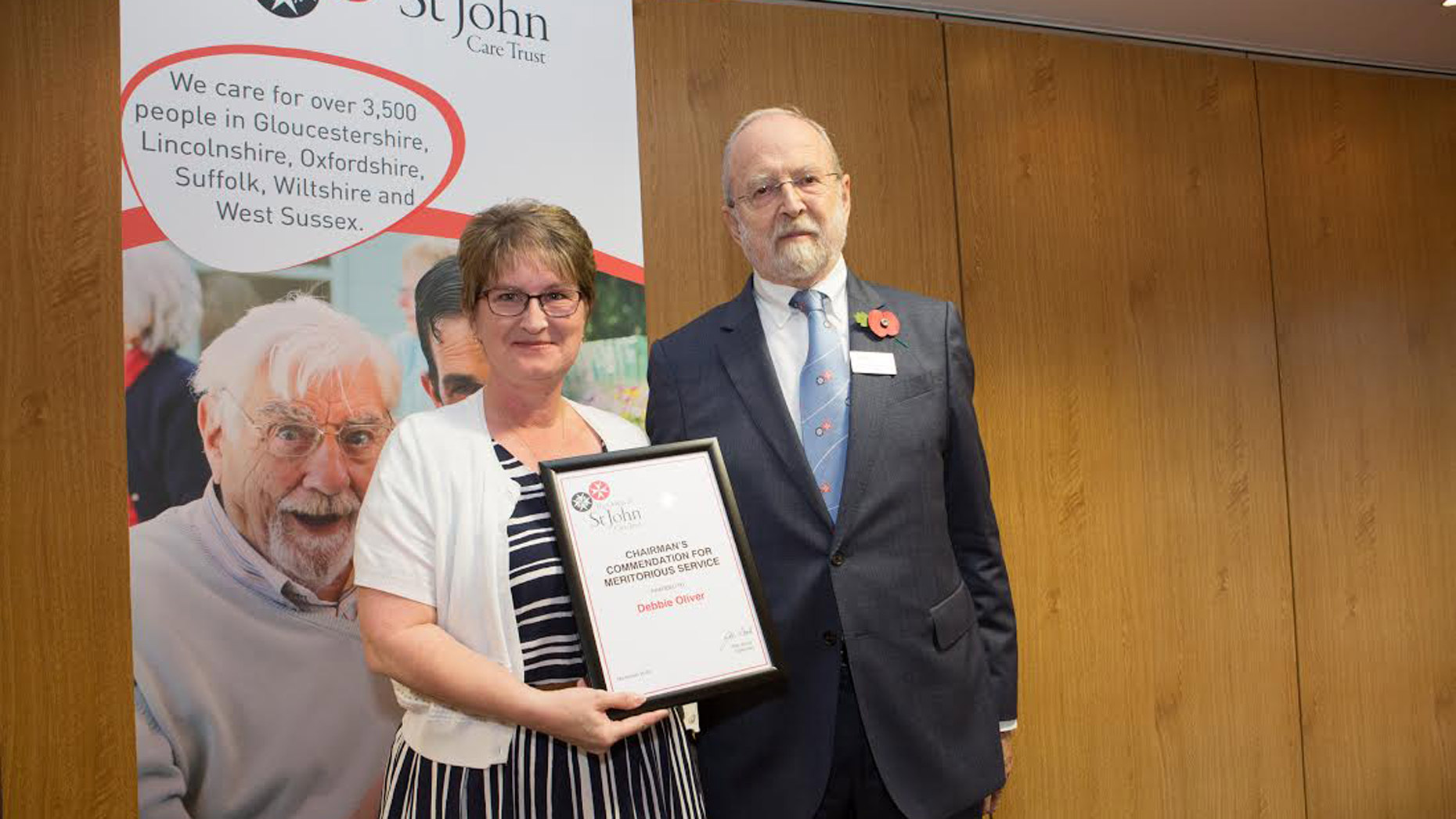 Debbie Oliver with Don Wood, CBE, OSJCT's Chairman of Trustees